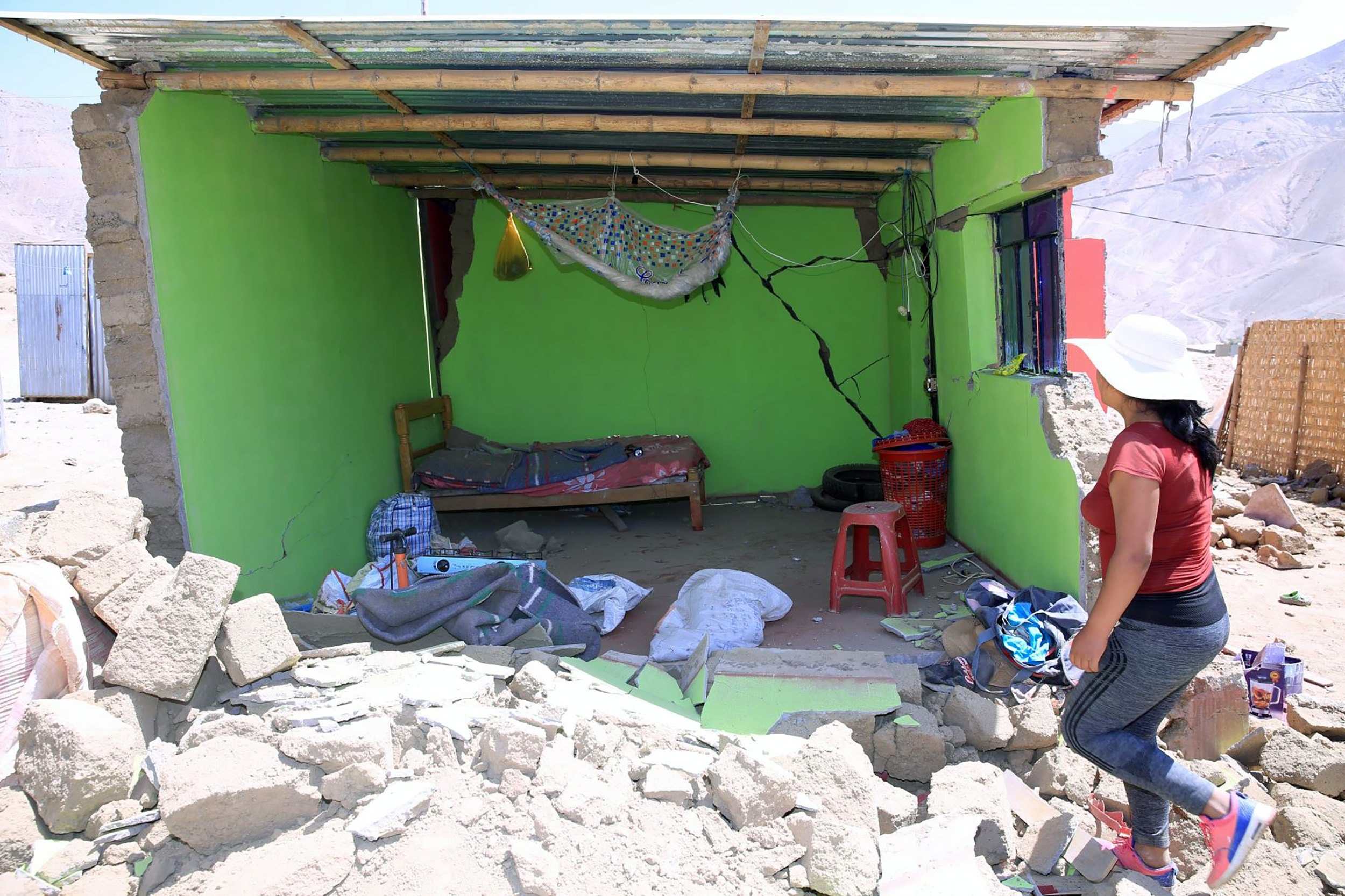 A handout photo made available by the Andina Agency shows a destroyed home in the town of Relave, in the province of Parinacochas, in the south of the department of Ayacucho, Peru, on 14 January 2018.