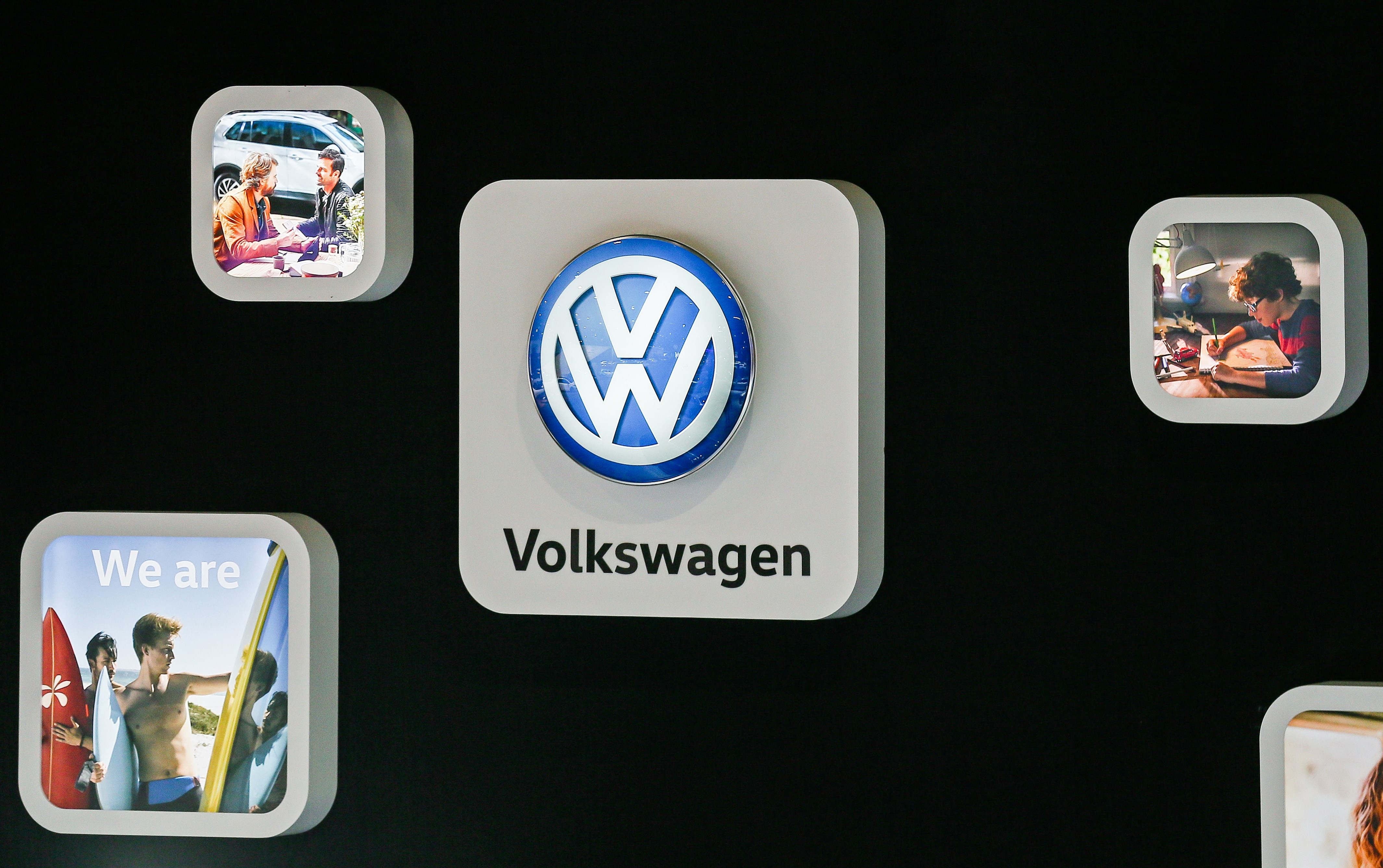 The Volkswagen logo at the inauguration of the Brussels Motor Show in Brussels, Belgium, Jan. 10, 2018.