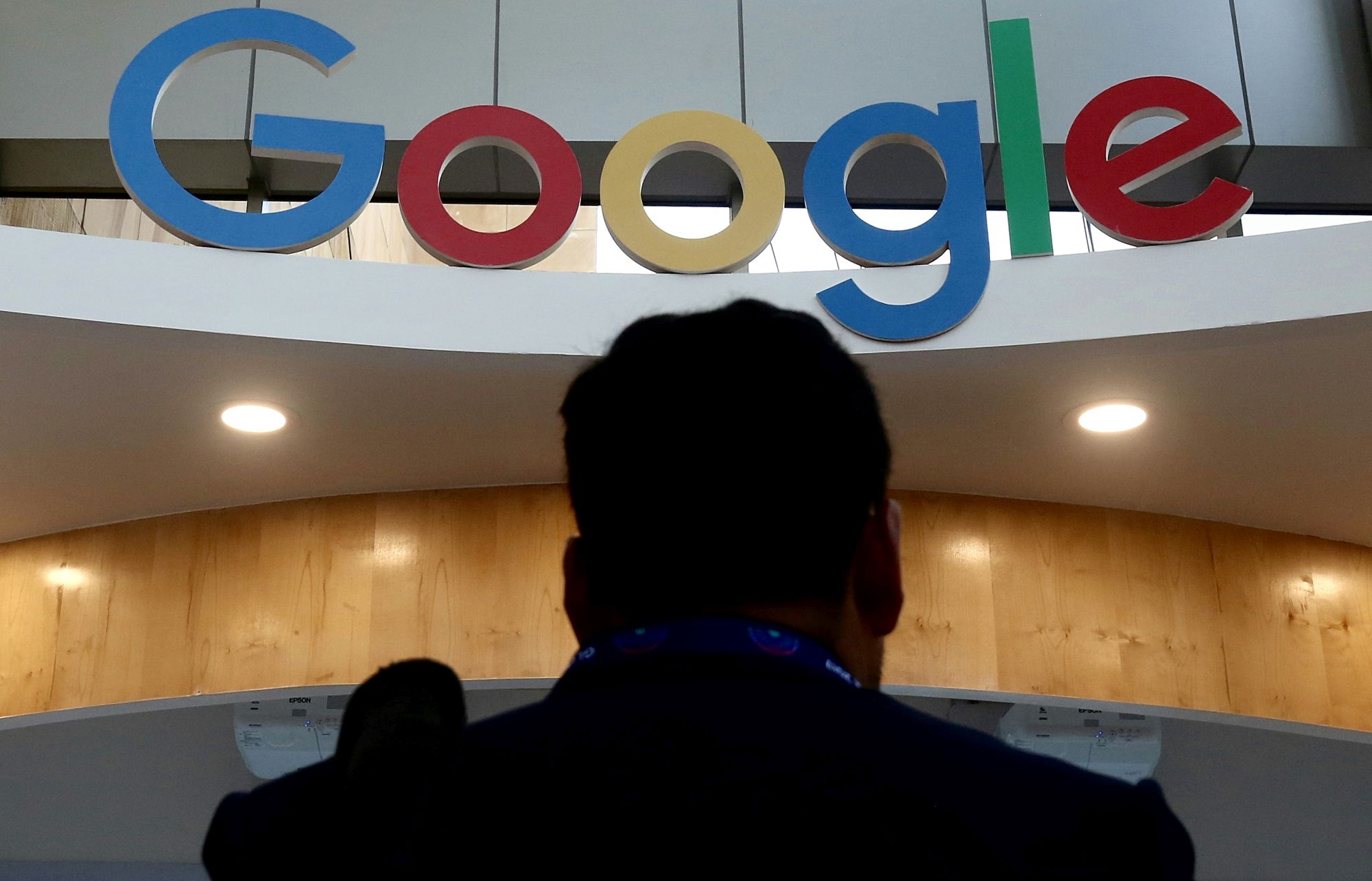 The logo of Google is seen at the eighth annual Global Entrepreneurship Summit (GES) in Hyderabad, India, Nov. 28, 2017. EFE