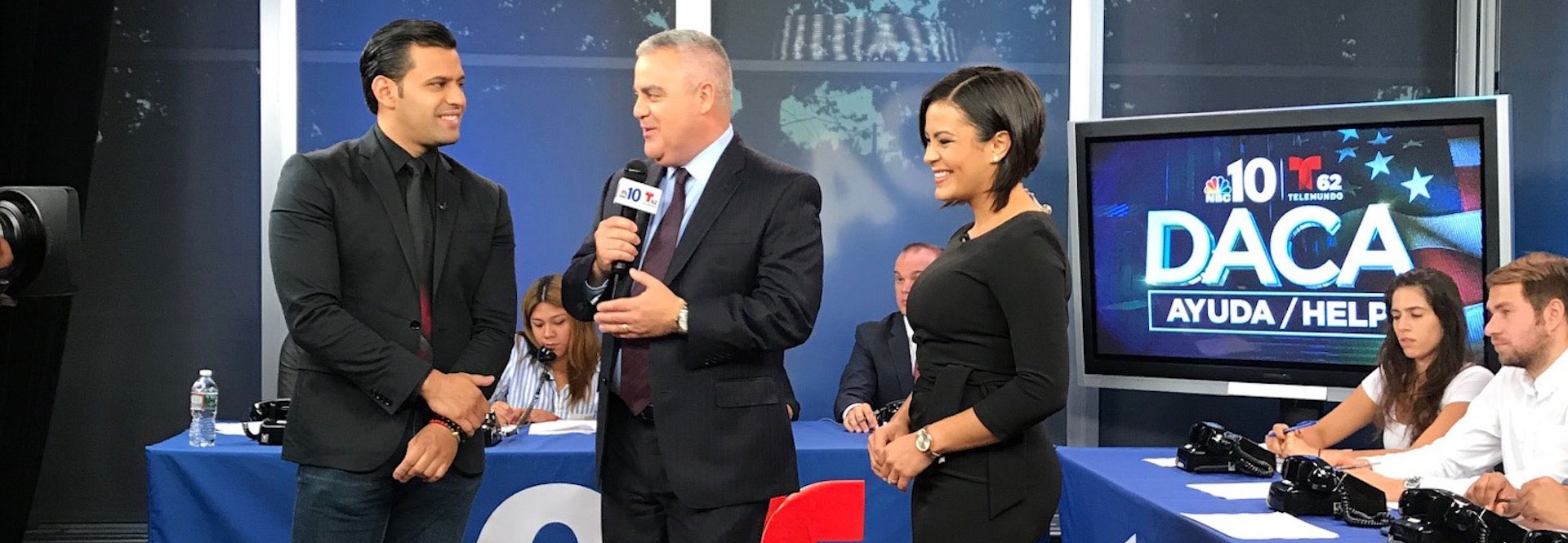 """NBC10 and Telemundo62Hosting """"DACA"""" Informational Phone Bank on Thursday, September 28th 2017. Photo shared by Diana Torralvo of NBCUniversal."""