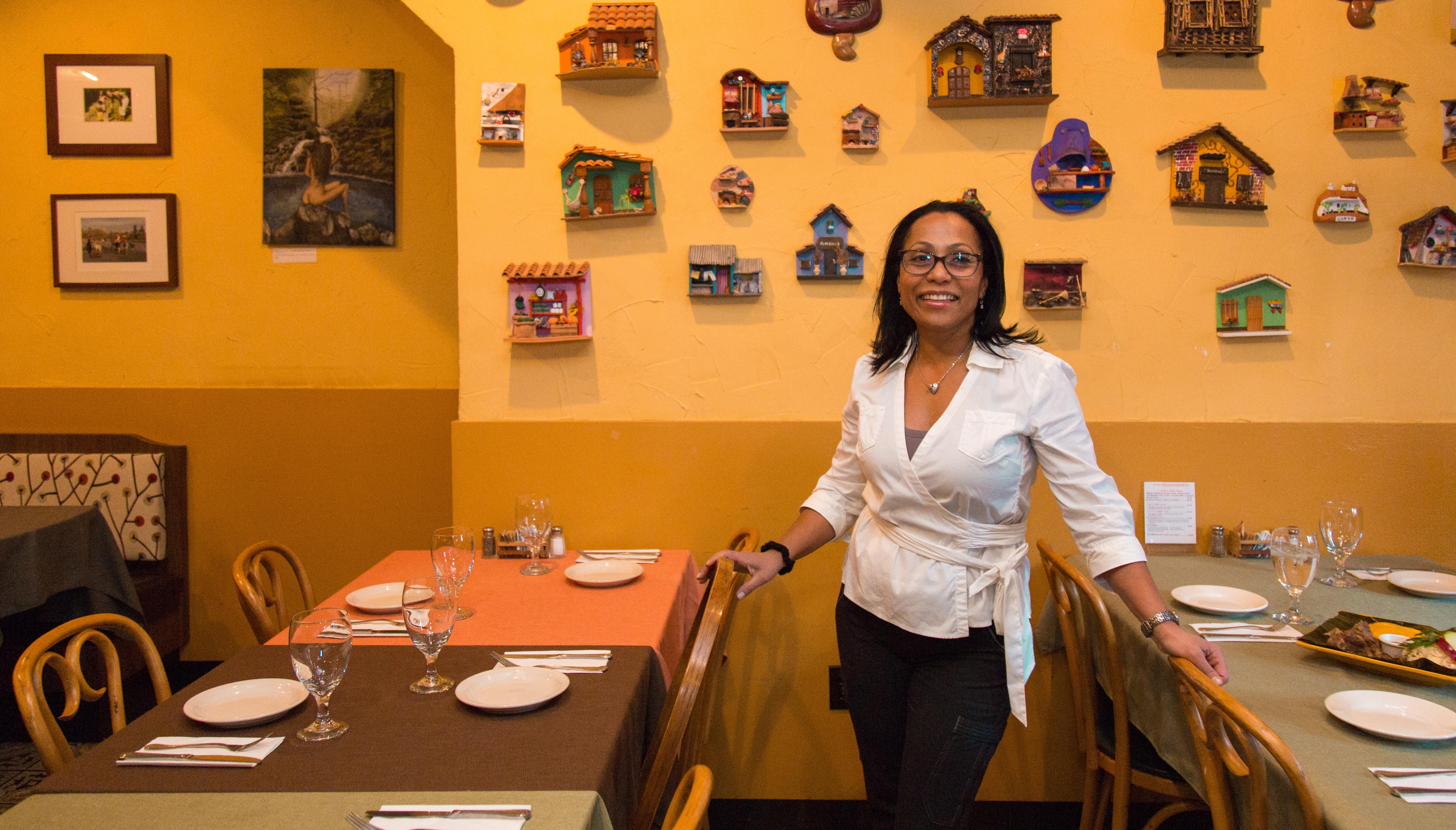 Chef Judith Suzarra-Campbellat Sazón Restaurant and Café. Photograph taken by Samantha Laub for AL DÍA News.