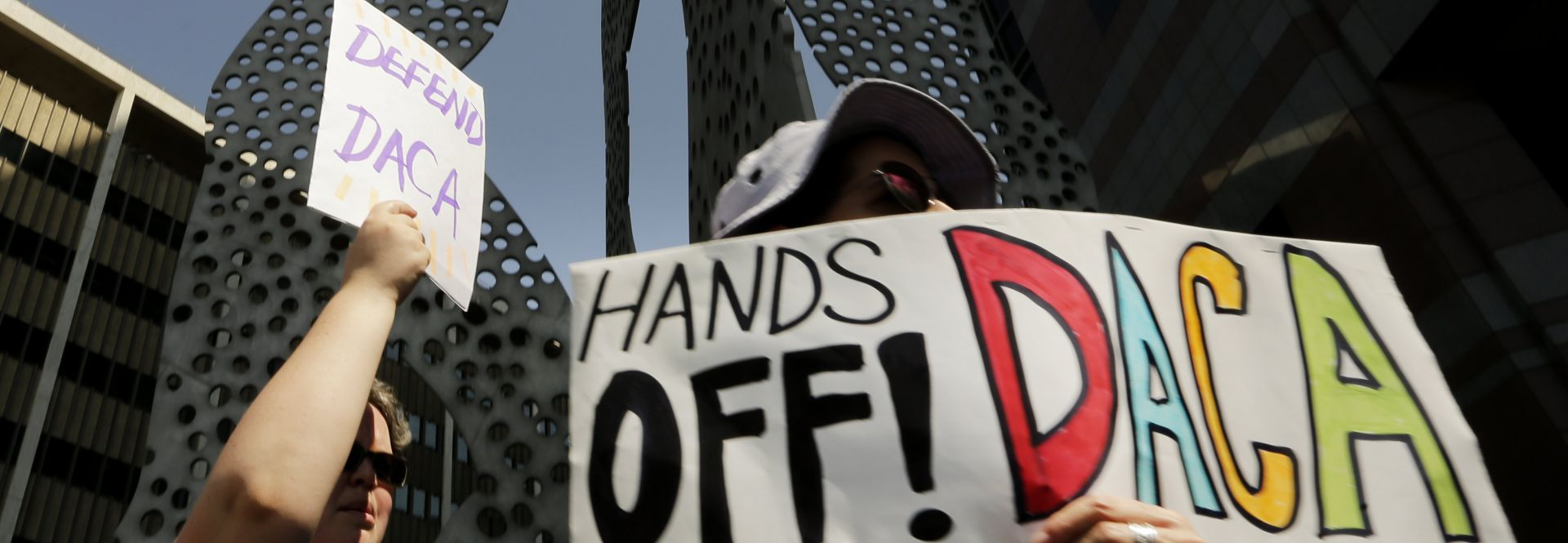 Protesters chant during a rally in support of Deferred Action for Childhood Arrivals (DACA) at the Edward Roybal Federal Building in downtown Los Angeles, California, USA Sept. 1, 2017. EPA-EFE/PAUL BUCK