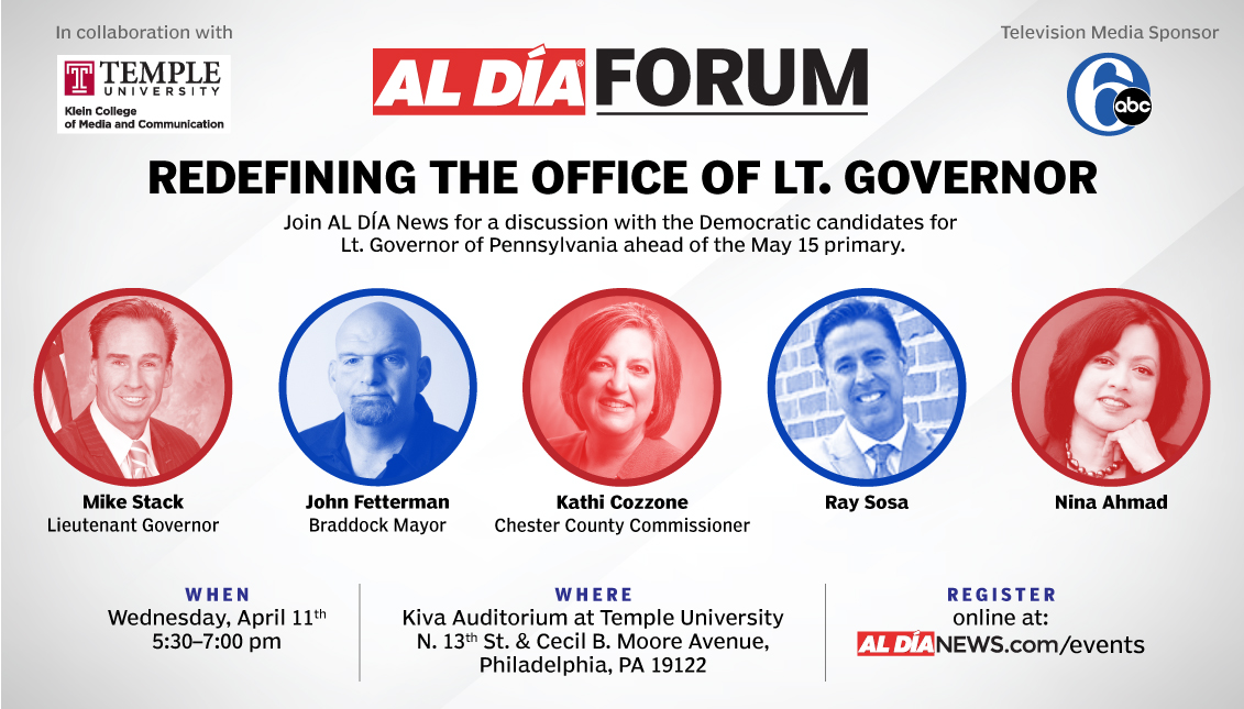 A forum with candidates for the state Lt. Governor position will be hosted byon April 11 from 5:30 - 7p.m at Kiva Auditorium at Temple University. Graphic by Samantha Laub.