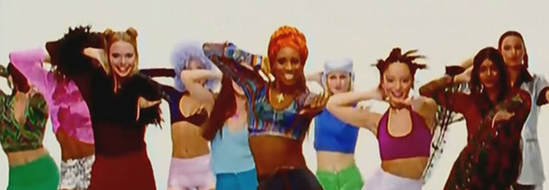 Video still from a 1996 music video of Macarena, directed by Vincent Calet, featuring Los Del Río and Tracee Ellis Ross