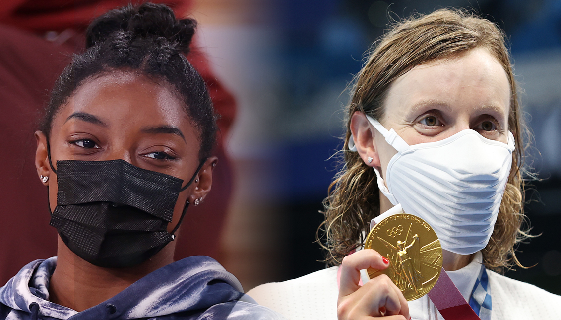 Simone Biles and Katie Ledecky. Getty Images