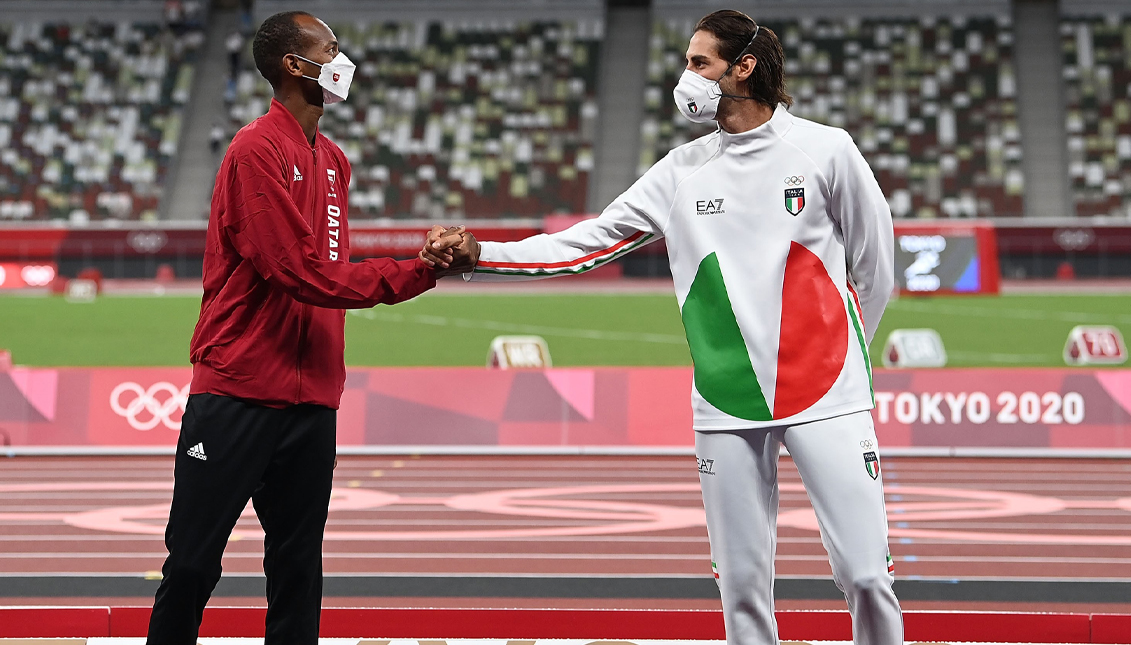 For the first time in more than a century, two athletes share a gold medal. Getty Images