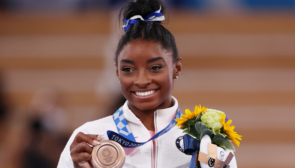 Bronze medal with gold twist for Simone Biles. Getty Images