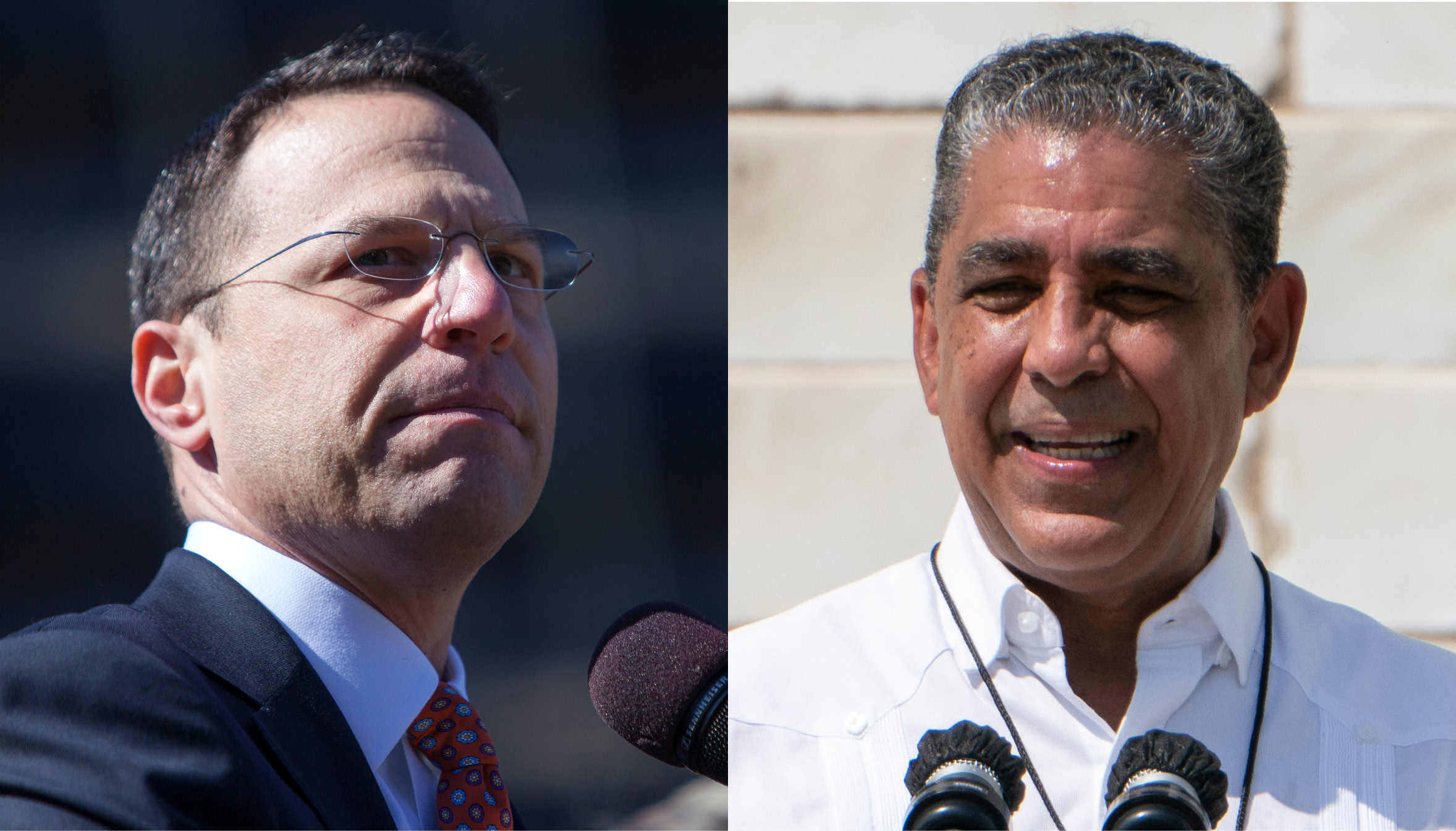 "Left to Right: Pennsylvania Attorney General Josh Shapiro, Rep. Adriano Espaillat, both fighting the ""ghost guns"" loophole. Photo: Getty Images"