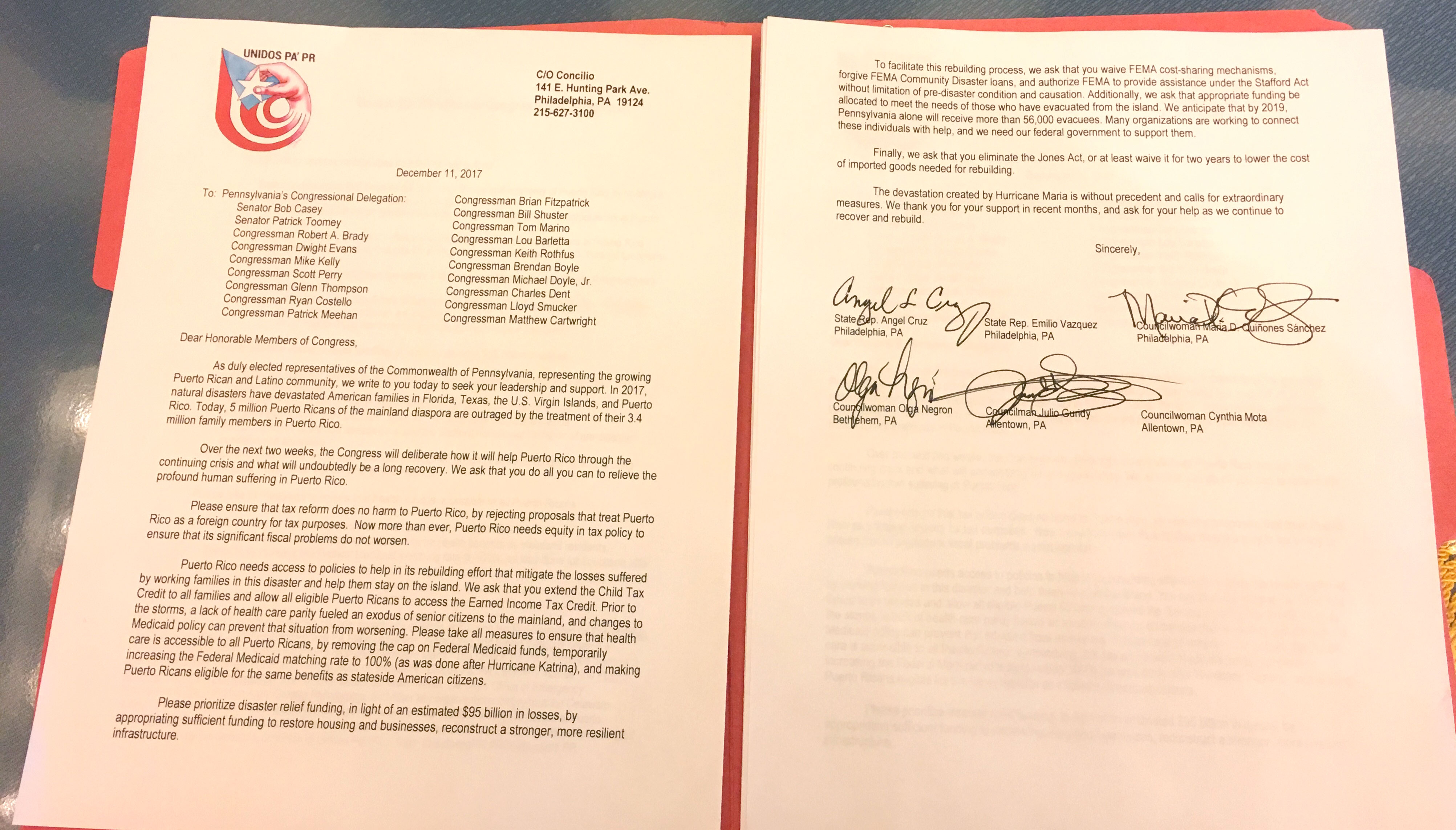 Unidos Pa'PR Letter to Pennsylvania's Congressional Delegation.