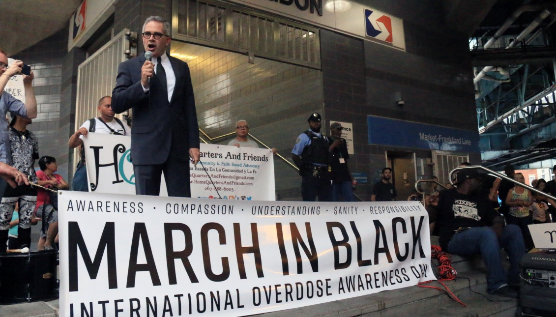 """Larry Krasner, the Democratic Candidate for District Attorney of Philadelphia, stands at the Huntington El stop to give a speech to the crowd gathered there. In his speech, Krasner said """"We need not to be silent. We need to be loud. We need to tell power"""