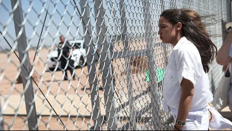 Image: Alexandria Ocasio-Cortez at the Tornillo Texas border on Sunday June 24 (Getty)