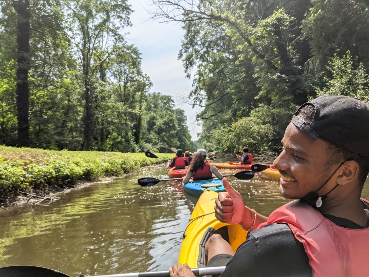 Andrew Atkerson, Senior Fellow on the Delaware Canal with other 2021 Fellows