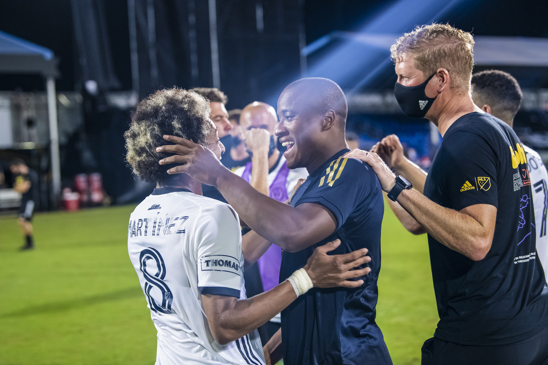 El Brujo and Sergio Santos all smiles after they celebrate a goal- Photo: Philadelphia Union