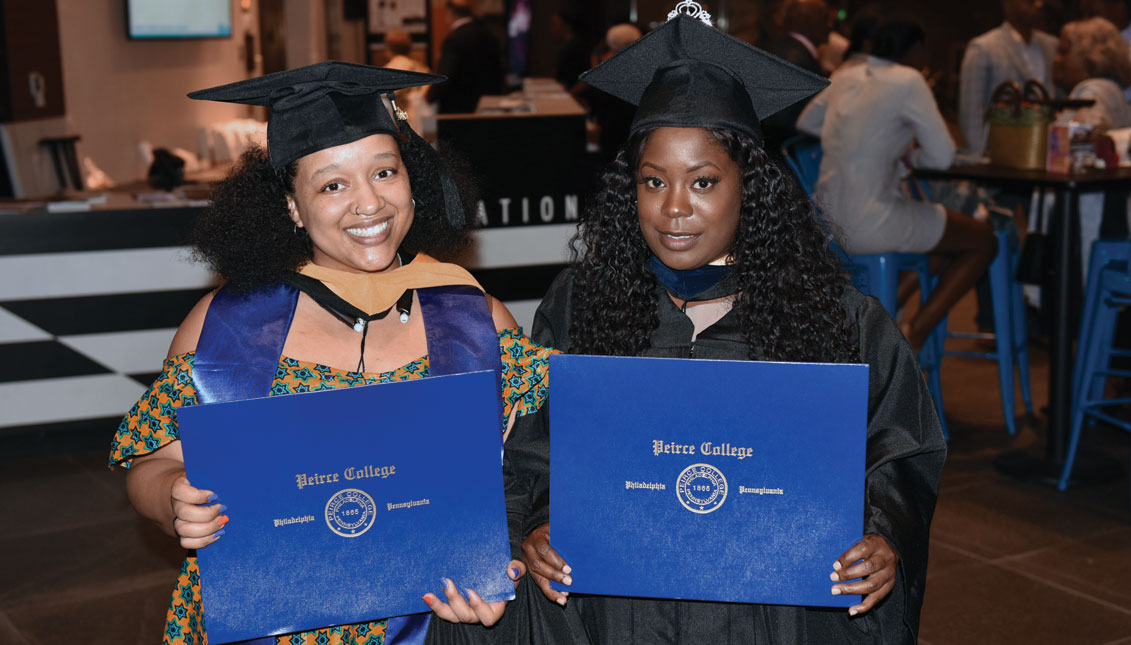 Bene't Morando, of African American, Mexican and Sicilian descent (left), at recent graduation from Peirce College. Photo Courtesy of Bene't Morando.