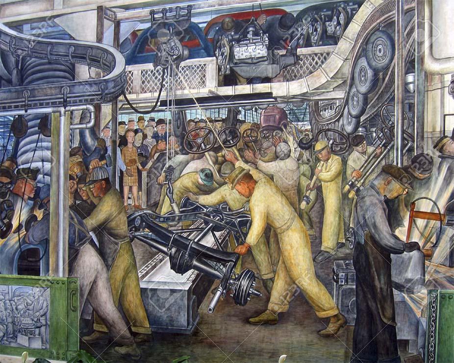 Diego Rivera y las cadenas de montaje de automóviles.