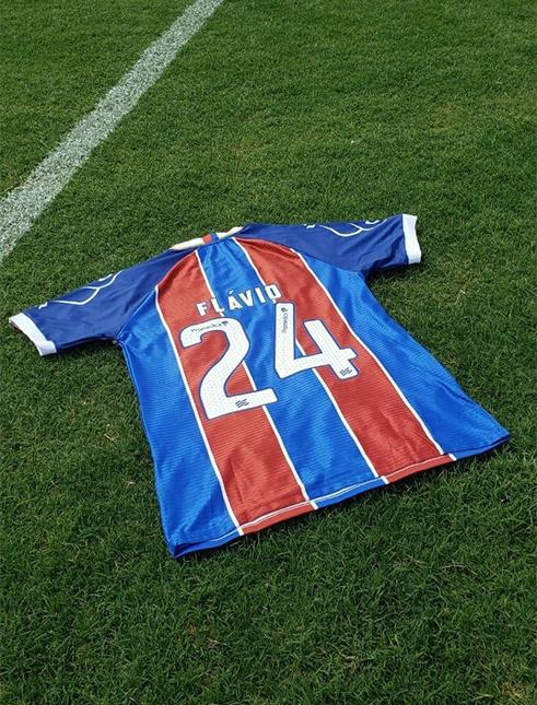 Flavio, jugador del Bahia, lució esta camiseta. Vía Uol