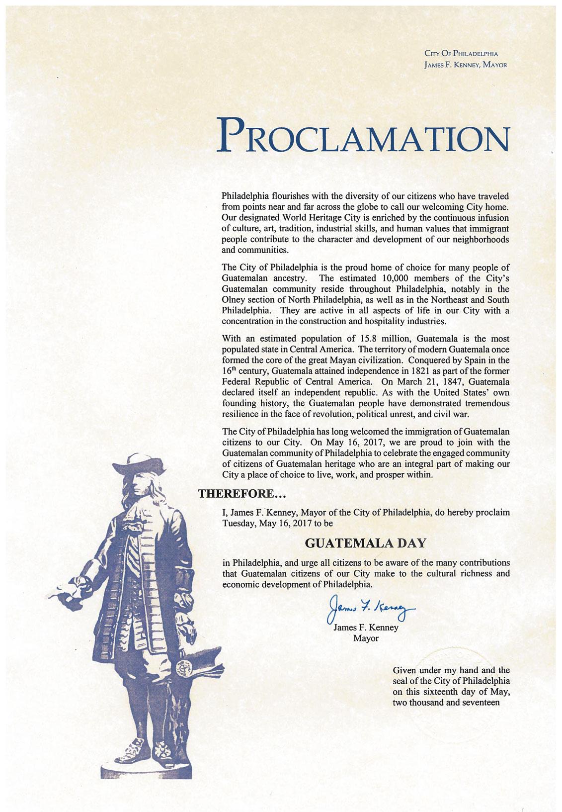 Facsímil de la proclama del Día de Guatemala en Filadelfia.
