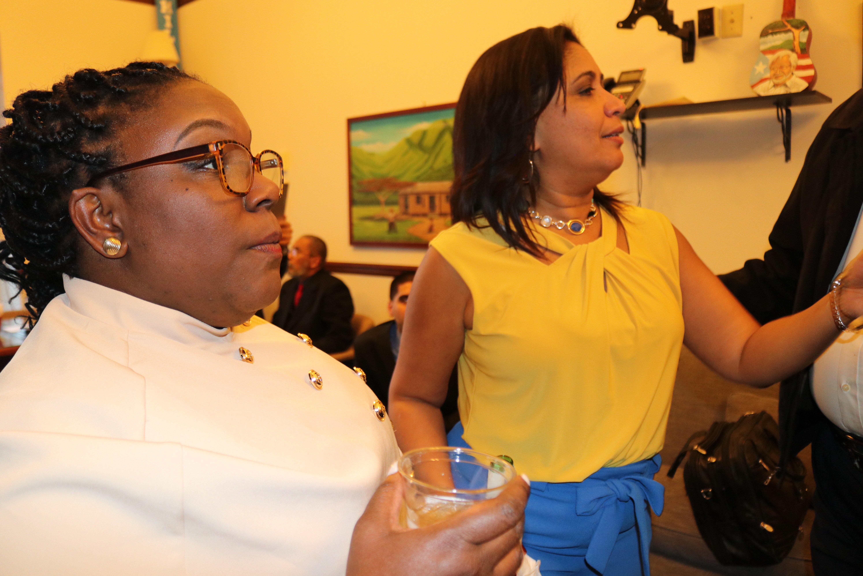 Councilwomen Kendra Brooks ans Maria Quiñones-Sanchez celebrate inauguration day. Photo: Michelle Myers.