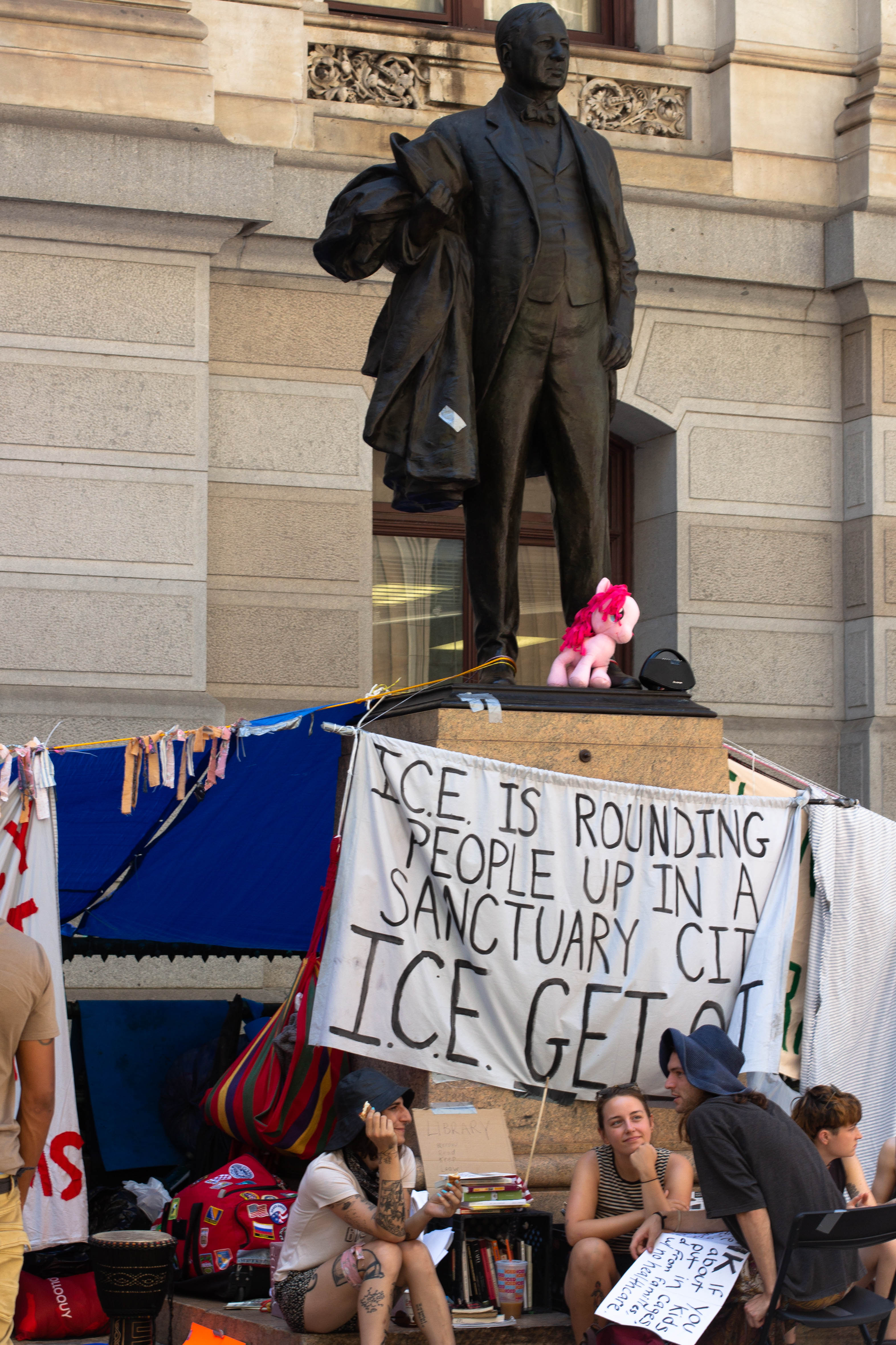 Demonstrators have gathered on the east side of City Hall since Thursday after their encampment at the ICE Philadelphia Field Office was destroyed by police.