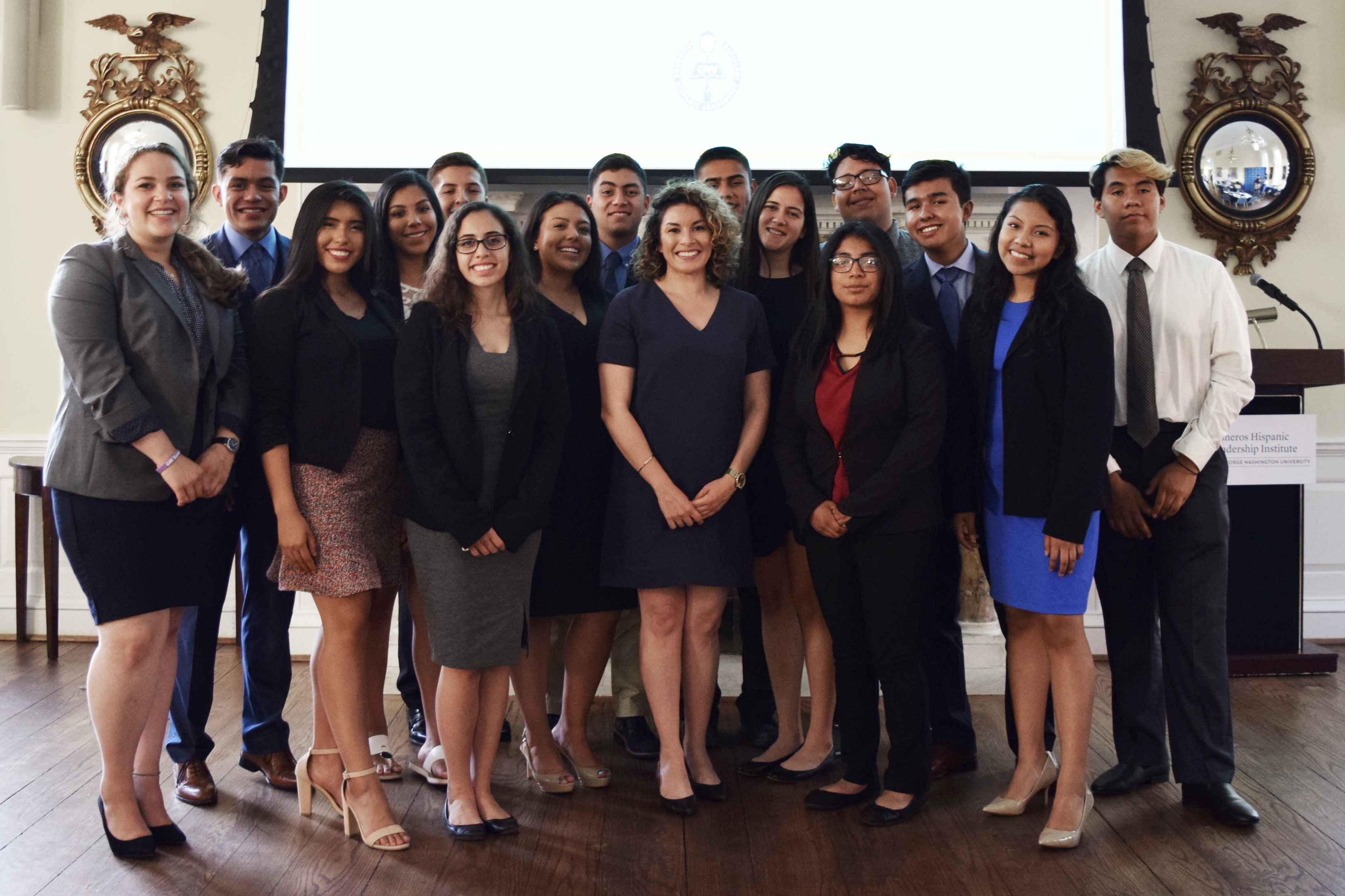 María Samaniego, Program Manager at the Aspen Institute Latinos and Society Program (center) poses with 2019 scholars. Photo Courtesy of Marcelo Gonzales Montoya