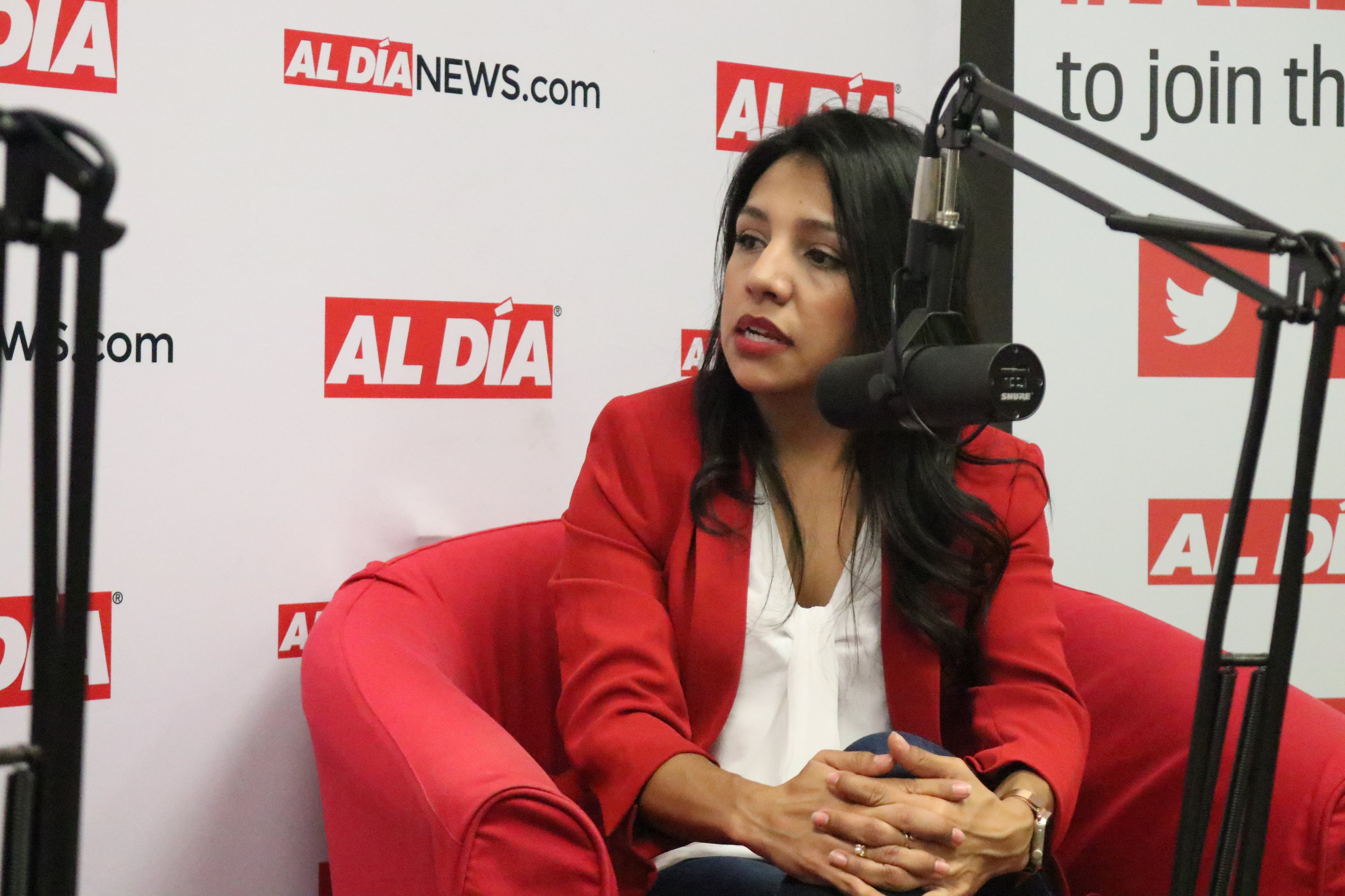 Adria Córdova visited the AL DÍA newsroom to talk about her life, career and journey on Nov. 19. Photo: Nigel Thompson/AL DÍA News.