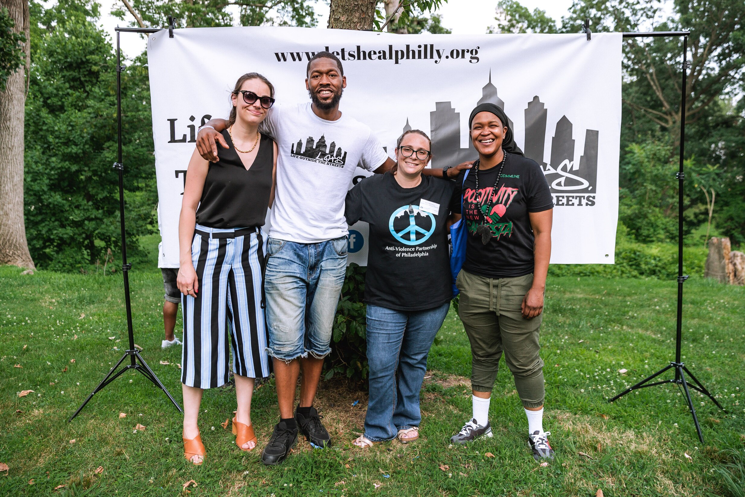 Natasha Danielá de Lima McGlynn with AVP staff at the End Gun Violence Coalition Cookout in July. Photo Credit: Sebastian Hernandez.