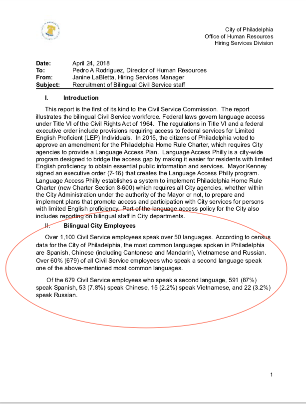 Facsimile of the Philadelphia OHS Bilingual Civil Service Staff Report