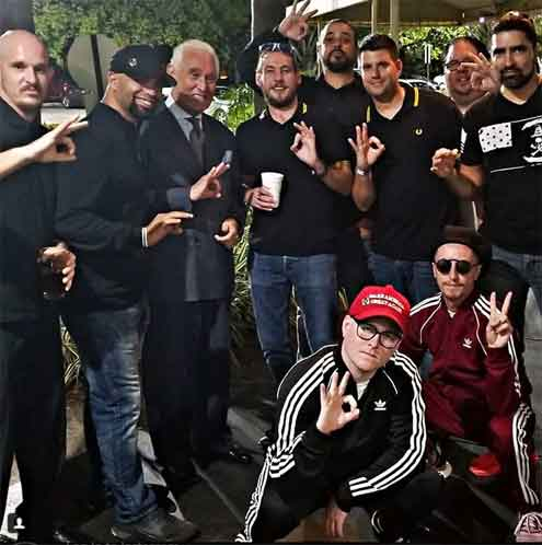 Tarrio and Proud Boys with Roger Stone doing the WP sign for White Power. Photo: Afrocubanweb.