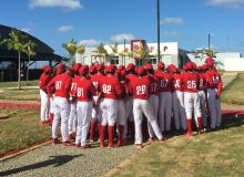 Prospects for the Phillies celebrate the opening of the new Dominican Republic Baseball Academy. Photo: Courtesy of Philadelphia Phillies and Minnesota Twins.