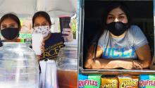 Lyzeth Garcia muestra felizmente su bandera de la UCLA fuera de ella y del camión de helados de su madre. Foto: Janette Villafana