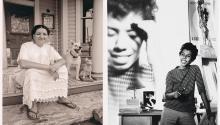 Sandra Cisneros retratada por Al Rendon en su casa de Chicago, en1988.Lorraine Hansberry fotografiada porDavid Attiepara Vogueen1959.