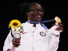 Team USA's Tamyra Mensah-Stock displays her gold medal Tuesday after the women's 68-kilogram freestyle wrestling final at the Tokyo Olympics. Photo: Tom Pennington/Getty Images