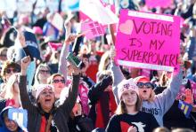 Excited attendees at the Women's March 'Power to the Polls' voter registration in Las Vegas in 2018. (Getty Images)