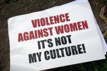 A sign from the Men Against Violence Against Women (MAVAW) project at the Live and Learn Offices (via Flickr). Attribution 2.0 Generic (CC BY 2.0).