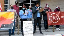 Armando Jimenez Carbarin, an organizer with Make the Road Pennsylvania, speaks during a protest on the steps of the Berks County Services Building in Reading, PA. Gettyimages