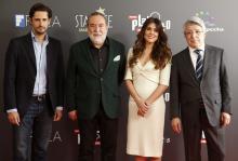 Imagen: ActorJuan Diego Botto; Adrián Solar, president ofFIPCA; Spanish actorAdriana Urgarteand Enrique Cerezo, Premios Platino's presentation(Madrid). EFE.