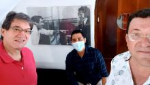 """From left to right, Jaime Abello Banfi, """"Director General"""" of """"Fundación GABO"""" since its inception by García Márquez and his wife, Mercedes Barcha, """"La GABA"""". In the middle, back in the wall picture, writer Alvaro Cepeda Samudio, benign welcome by Gabo in Barranquilla after Cepeda Samudio finished his Master Degree in Journalism in NYC's Columbia University. Migue.. Is in the middle. Yours truly, to the right, a man inspired by all of these brave men. (Photo AL DIA/August 10, 2021/Selfie)."""