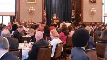 """The founder and CEO of AL DÍA, Hernán Guaracao, speaks at the Hispanic Heritage celebration hosted by AL DÍA at the Philadelphia Union League Club in 2018. He is brief during these special ocassions, but people accuse him sometimes of """"speaking too much"""". ALDÍANews"""