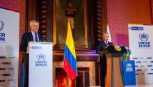 Colombian President Ivan Duque (right) and UN High Commissioner for Refugees Italian Filippo Grandi (left) held a briefing in Bogota on Feb. 8 to announce the temporary regularization of almost one million undocumented Venezuelans living in Colombia.Juan Barreto/AFP via Getty Images