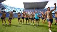 Players for Pumas during a Liga MX Femenil game. Photo: U.N.A.M. Press