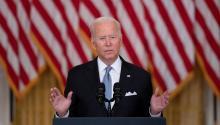 President Joe Biden speaks about Afghanistan. Photo: Getty Images