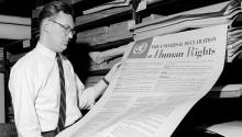 A man looks at one of the first documents published by the United Nations, The Universal Declaration of Human Rights, which was ratified in 1948.  Three Lions/Hulton Archive/Getty Images