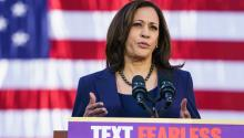 The new Latino-focused ad features Harris for the first time. Photo: Getty Images