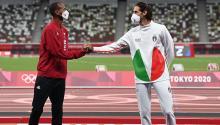 Mutaz Essa Barshim de Qatar and Gianmarco Tamberi de Italia compartieron el oro en salto de altura. Getty Images