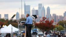 President Barack Obama visited Philadelphia on Oct. 21, making a case for men to vote on Nov. 3. Photo: Getty Images