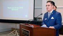 Prospanica Drexel president and founder Brandon Cisneros speaking at a 2019 end of the year celebration. Photo: Prospanica Drexel.