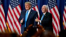 "CHARLOTTE, NORTH CAROLINA - AUGUST 24: President Donald Trump and Vice President Mike Pence give a thumbs up after speaking on the first day of the Republican National Convention at the Charlotte Convention Center on August 24, 2020 in Charlotte, North Carolina. The four-day event is themed ""Honoring the Great American Story."" (Photo by Chris Carlson-Pool/Getty Images)"
