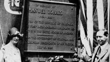 Colombian minister Enrique Olaya Herrera, president of Colombia 1930- 1934 , and his wife reveal the Manuel Torres plaque in Philadephia in 1928 .  Wikipedia