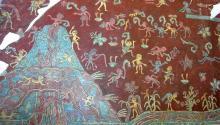 Foto que muestra parte de un mural en el complejo Tepantitla en las ruinas de Teotihuacán. Este mural aparece directamente debajo de la imagen de la Gran Diosa de Teotihuacán. lifeder.com