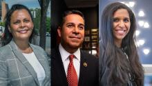 Janet Diaz, Rep. Ben Ray Luján, and Candace Valenzuela are running three different races, but represent the same kind of change happening nationwide. Photos: Janet Diaz campaign, M. Scott Mahaskey/POLITICO, Candace Valenzuela campaign
